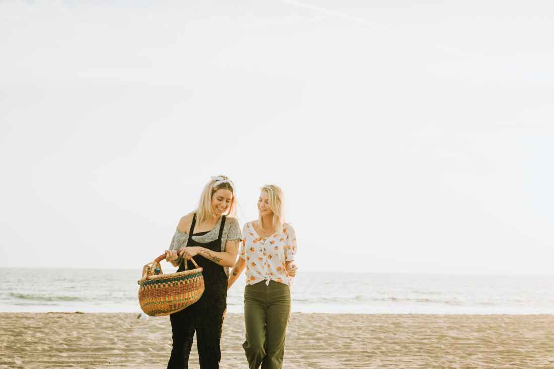 two women walking on a seashore